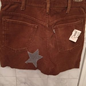 Vintage Levis Brown Corduroy Mini Skirt Sz 30 W